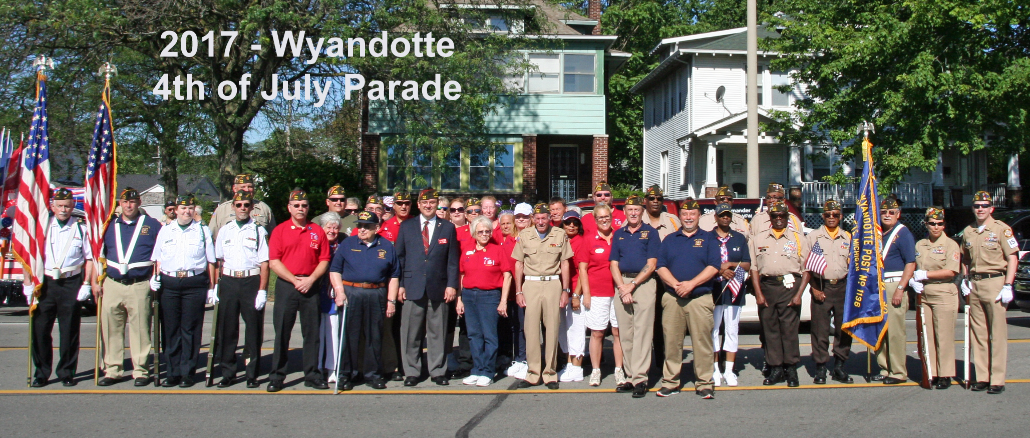 District 4 members assemble along with VFW State Commander Matt David before parade begins.